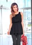 Chiffon blouse top, black