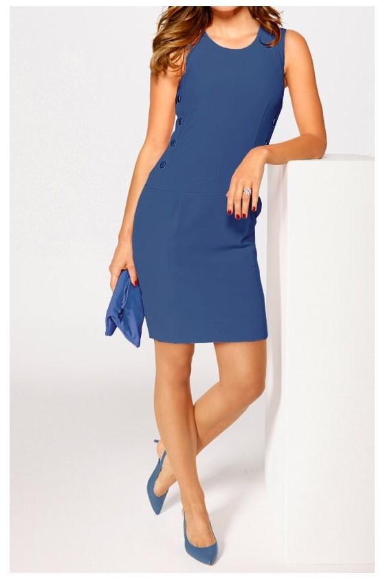 Elegantiška mėlyna suknelė su sagomis
