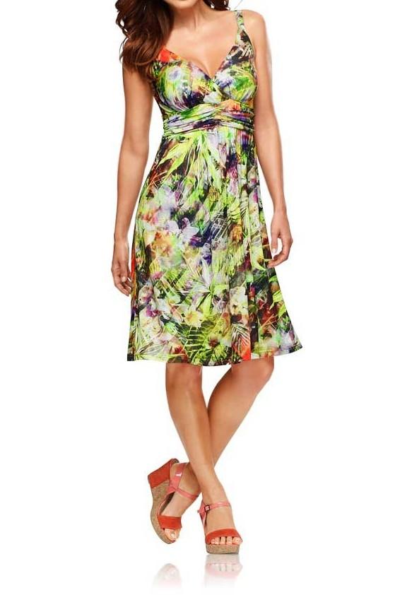 Vasarinė marga suknelė ant petnešėlių