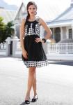 Originali suknelė balta-juoda