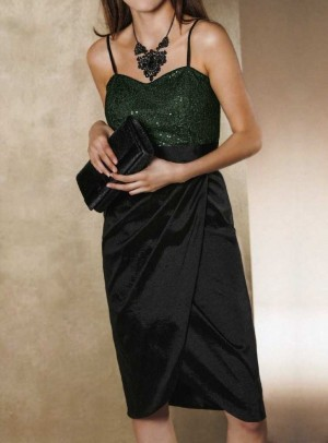 Dress with sequines, black-green