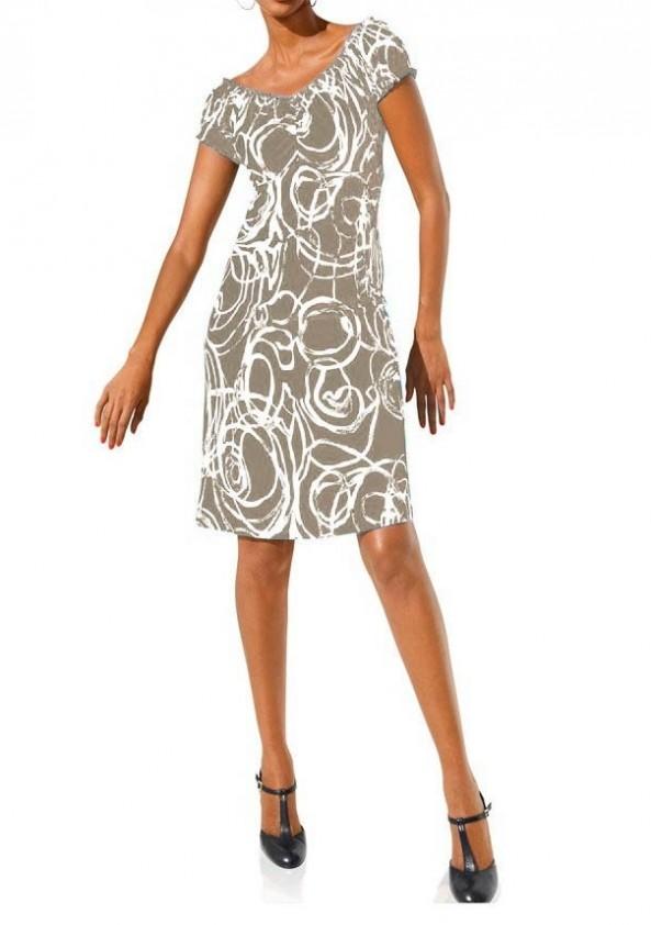 Smėlio spalvos klasikinė suknelė