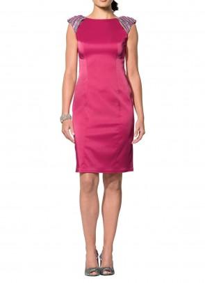 Satin dress with beads, pink