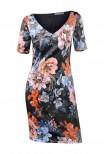 Gėlėta aptempta suknelė