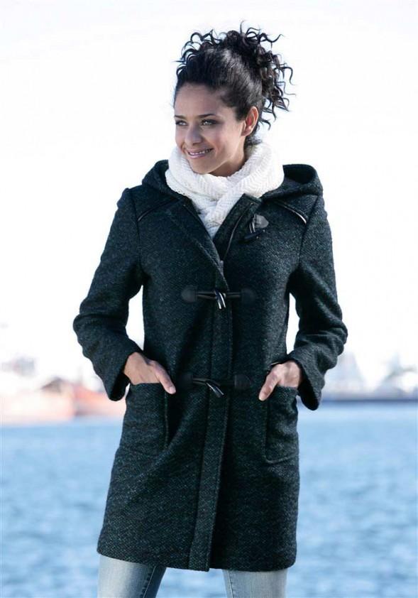 Šiltas paltas su vilna