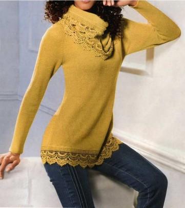 Geltonas megztinis + skarelė