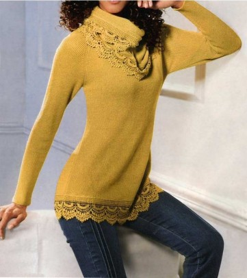 Set: Sweatshirt and scarf, yellow