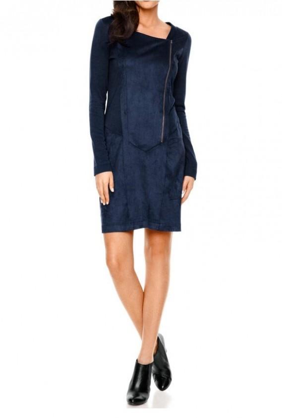 Zipper patch dress, blue