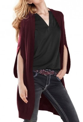 Long cardigan, bordeaux