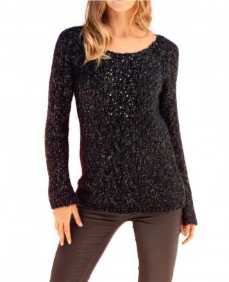 Sweatshirt with beads, black-beige