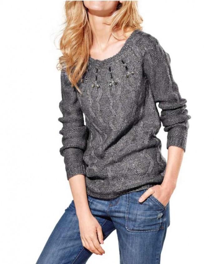 Pilkas megztinis su vilna