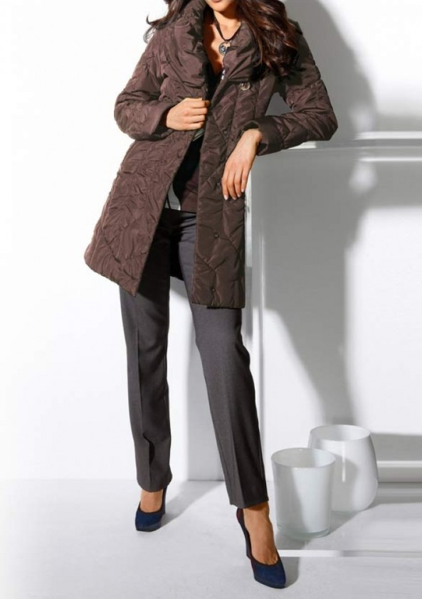 Quilted coat, brown