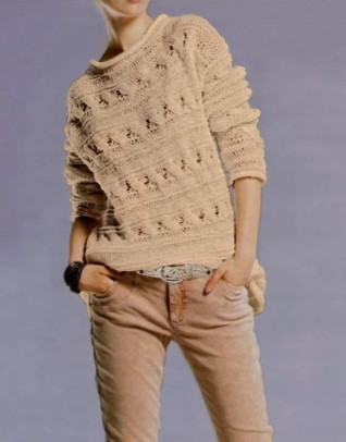 Cable knit sweatshirt, beige