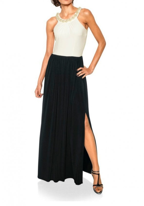Evening gown with beads, black-white