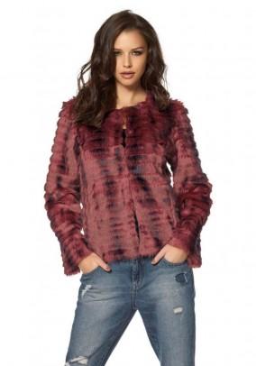 Weave fur jacket, bordeaux