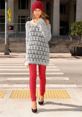 Originalus pilkas megztinis