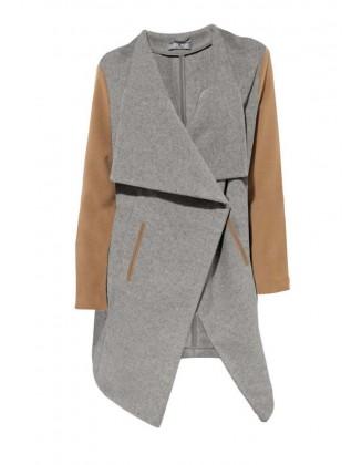 Originalus pilkas vilnonis paltas