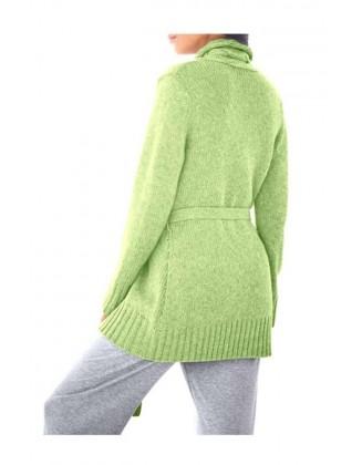 Žalias vilnonis kardiganas