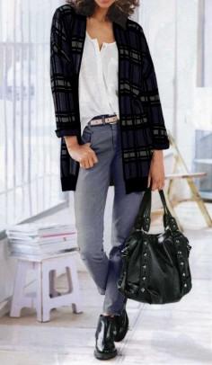 Cardigan, blue-grey-black