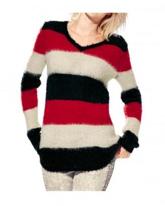 Fluffy sweatshirt, black-red-white