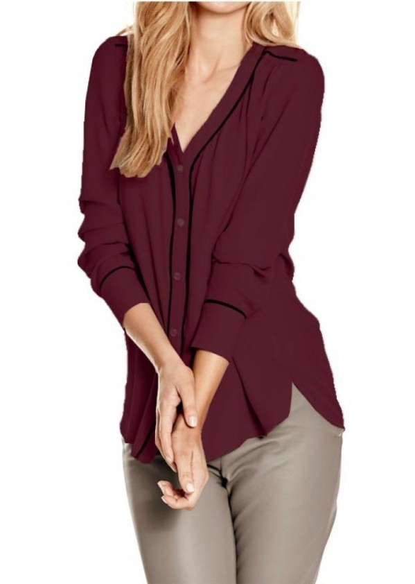 Chiffon blouse, bordeaux