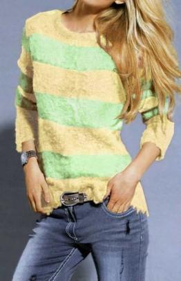 Fluffy sweatshirt, mint-yellow