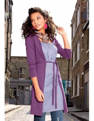 Dviejų dalių purpurinė suknelė