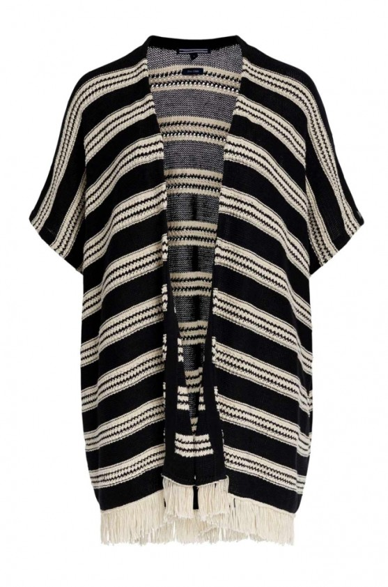 Linen poncho-cardigan, black-white