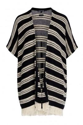 Linen poncho-cardigan, black-white