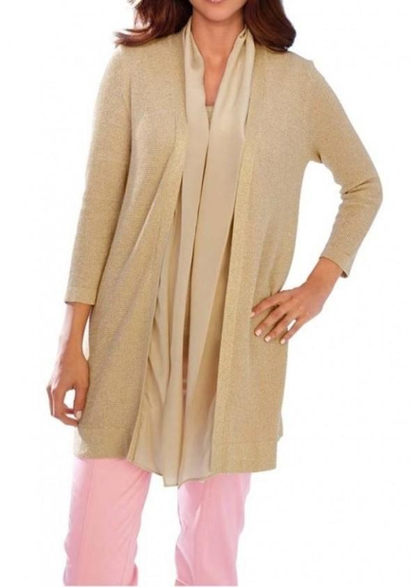 Auksinis megztinis su šilku. Liko 44 dydis