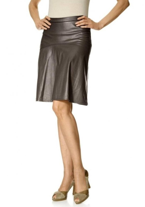 leather skirt, taupe