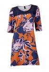 Oranžinė marga suknelė