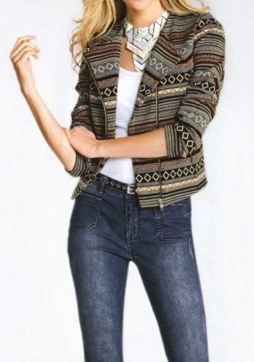 Biker jacket, taupe-multicolour