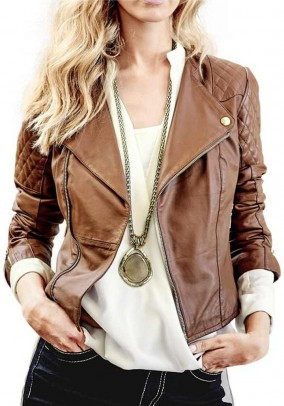 Lamb nappa leather jacket, cognac