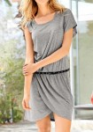 Dress with belt, blended grey