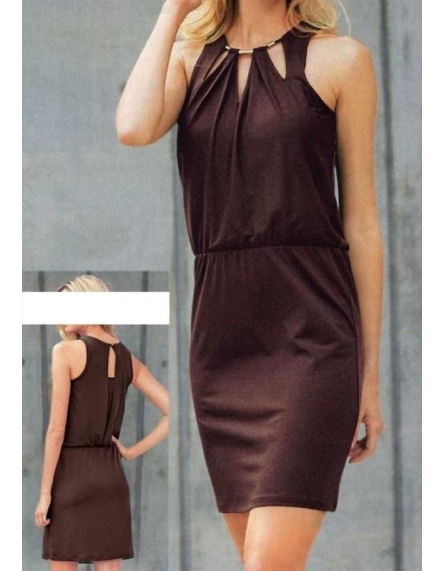 Ruda aptempta suknelė