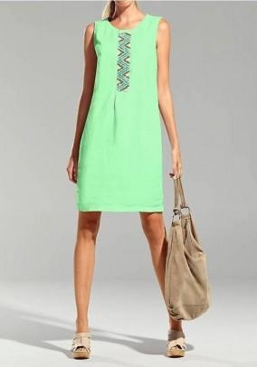 Žalia lininė suknelė