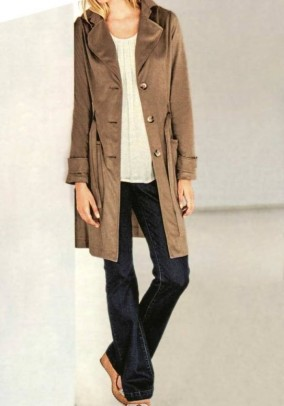 Leather imitation trench coat, brown
