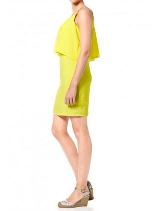 Sluoksniuota geltona suknelė