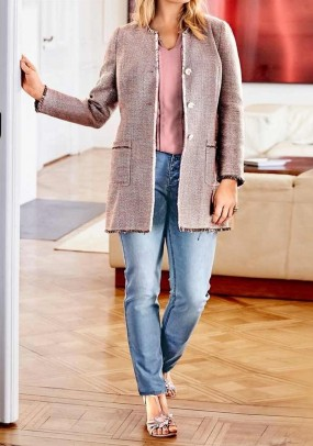Long boucle blazer, rose-multicolour