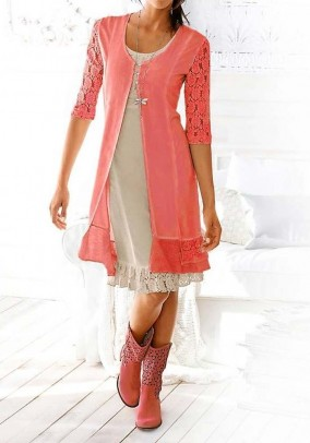 Shirt jacket with lace, coral