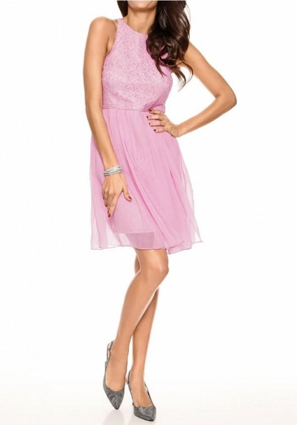 Designer lace chiffon dress, rose
