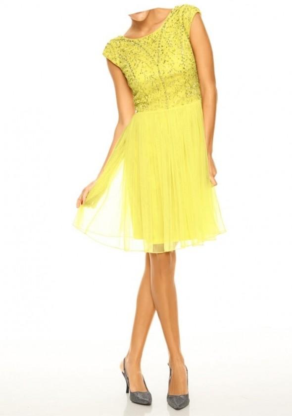 Ryškiai geltona kokteilinė suknelė