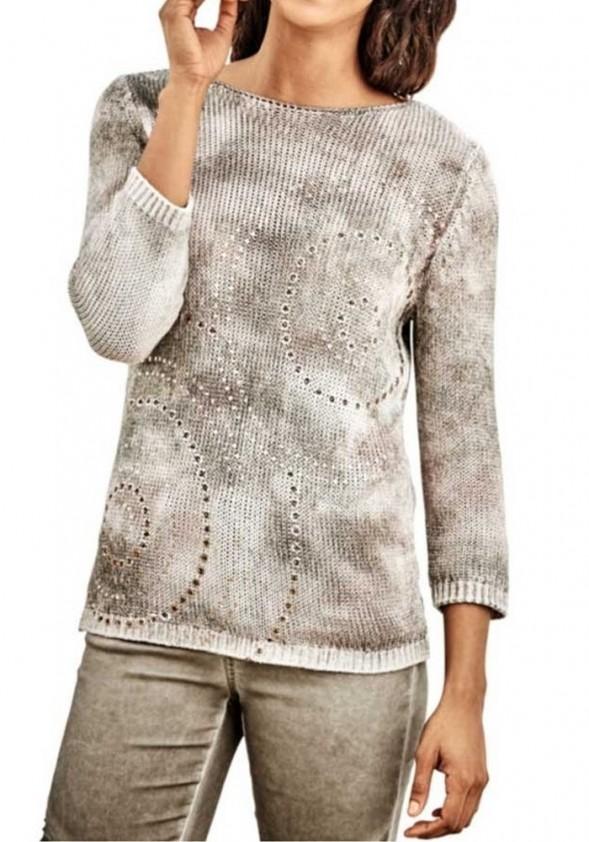Chaki megztinis su linu