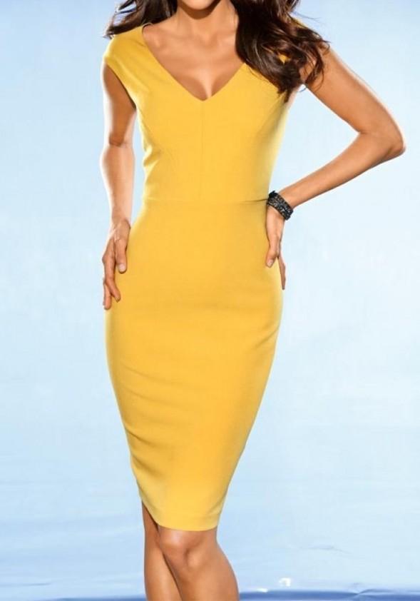 Klasikinė geltona suknelė
