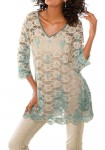 Lace tunic, sand-aqua
