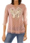Blouse with sequines, multicolour