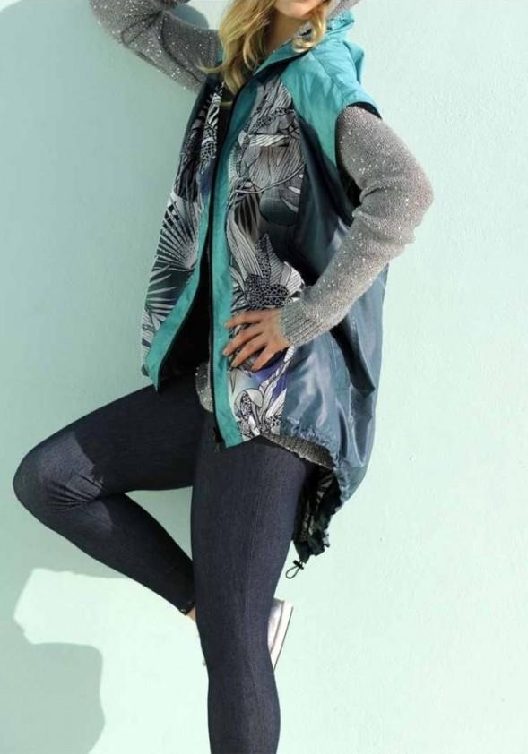 Asymmetric vest, turquoise-colourful