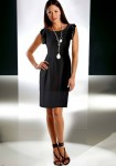 Label chiffon sheath dress, black