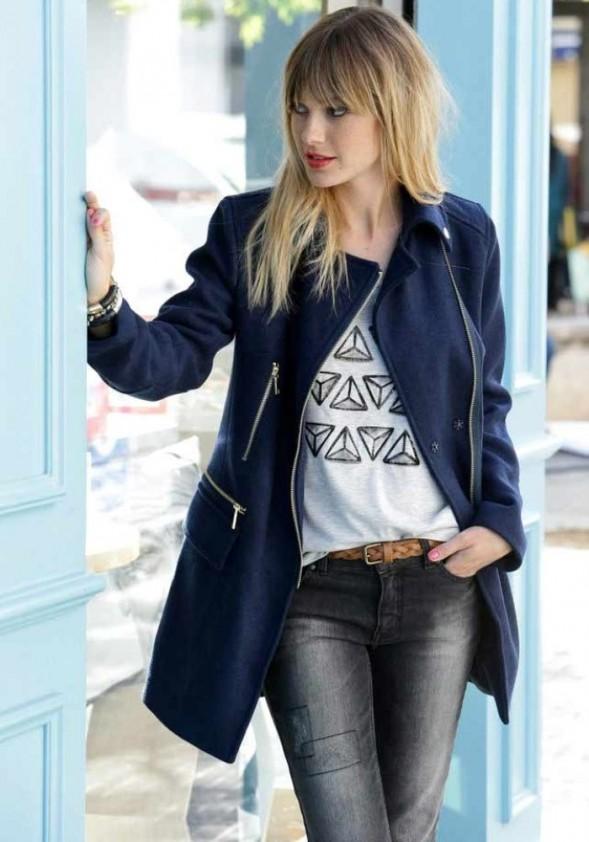 Mėlynas paltas su vilna